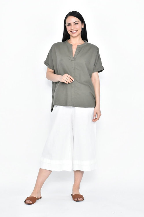 Khaki Linen V-Neck Top
