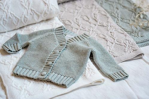 Cotton Baby Cardigan Sage
