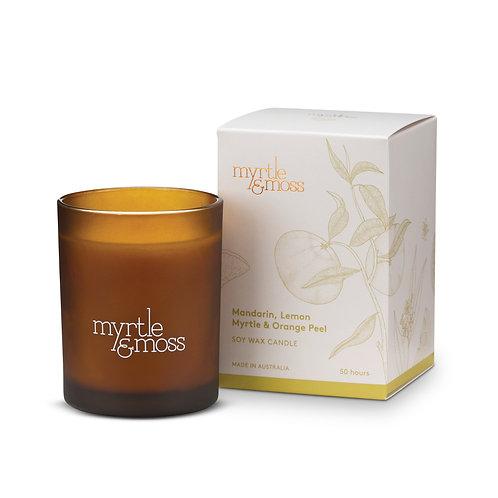Myrtle & Moss Soy Wax Candle Mandarin, Lemon Myrtle & Orange Peel