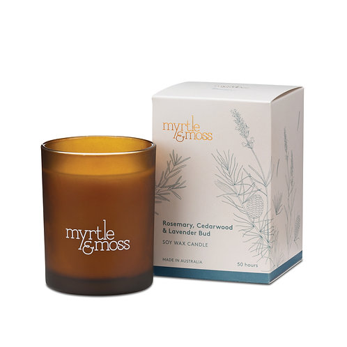 Myrtle & Moss Soy Wax Candle Rosemary, Cedarwood & Lavender