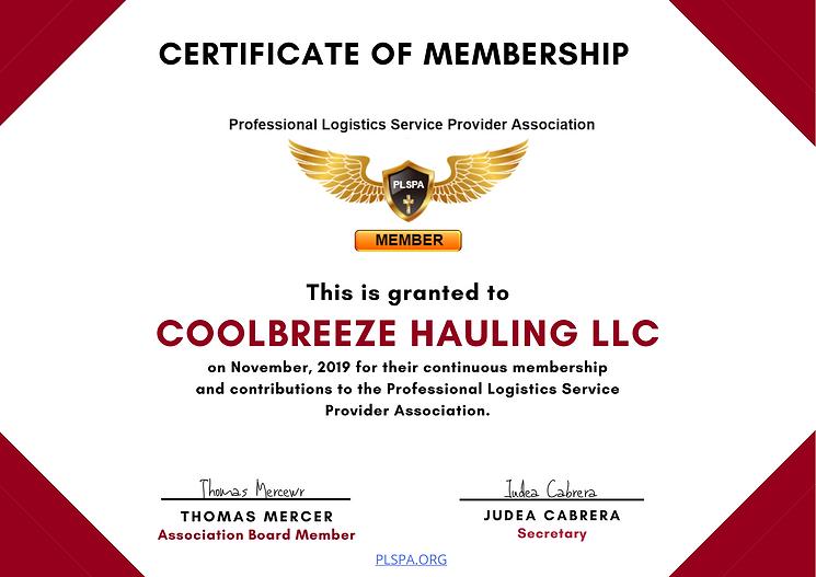 PLSPA Membership Certificate CoolBreeze