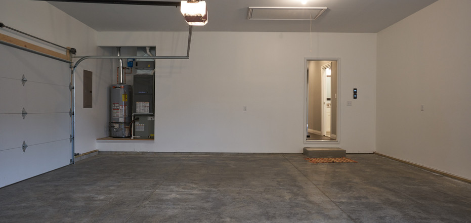 New Home-Inside Empty Garage