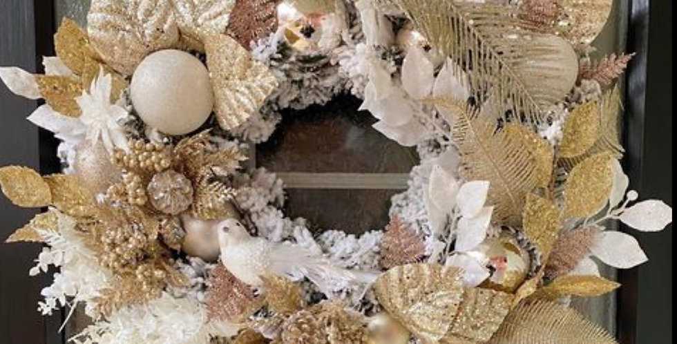 Champagne gold/rose gold white Christmas wreath