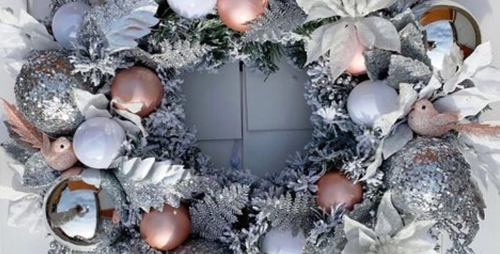 Silver and blush Christmas wreath