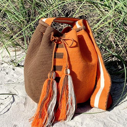 Naranja Woven Wayuu Cross-Body Mochila Bag