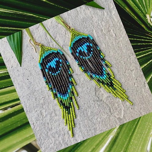 Embera Beaded Boho Peacock Earring
