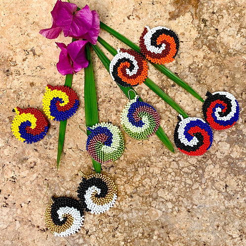 Misak Beaded Boho Swirl Earrings