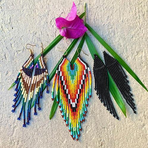 Embera Winged Beaded Boho Drop Earrings