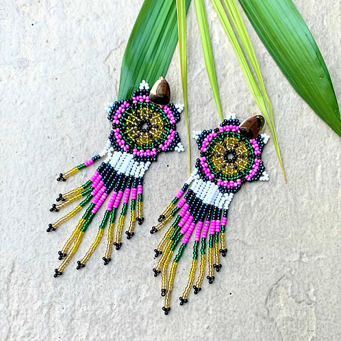 Embera Beaded Boho Flower Drop Earring