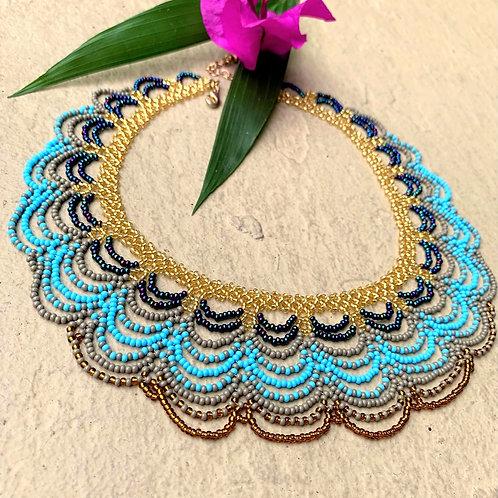 Beaded Embera Scallop Boho Necklace