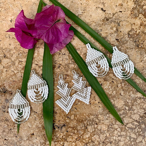 Mini Misak White Beaded Boho Earrings