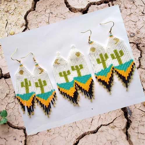 Misak Beaded Boho Cactus Drop Earring