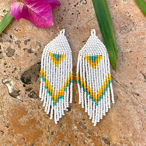 Misak White Desert BEaded Boho Earrings