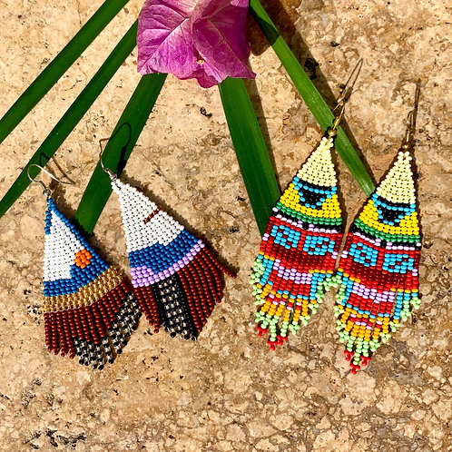 Embera Beaded Boho Drop Earrings