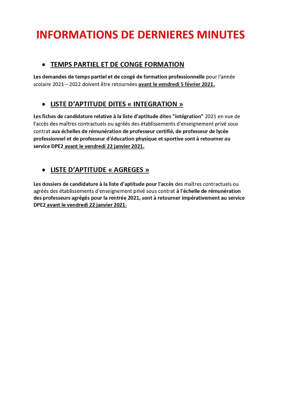 VOEUX 2021 INFORMATIONS DE DERNIERES MIN