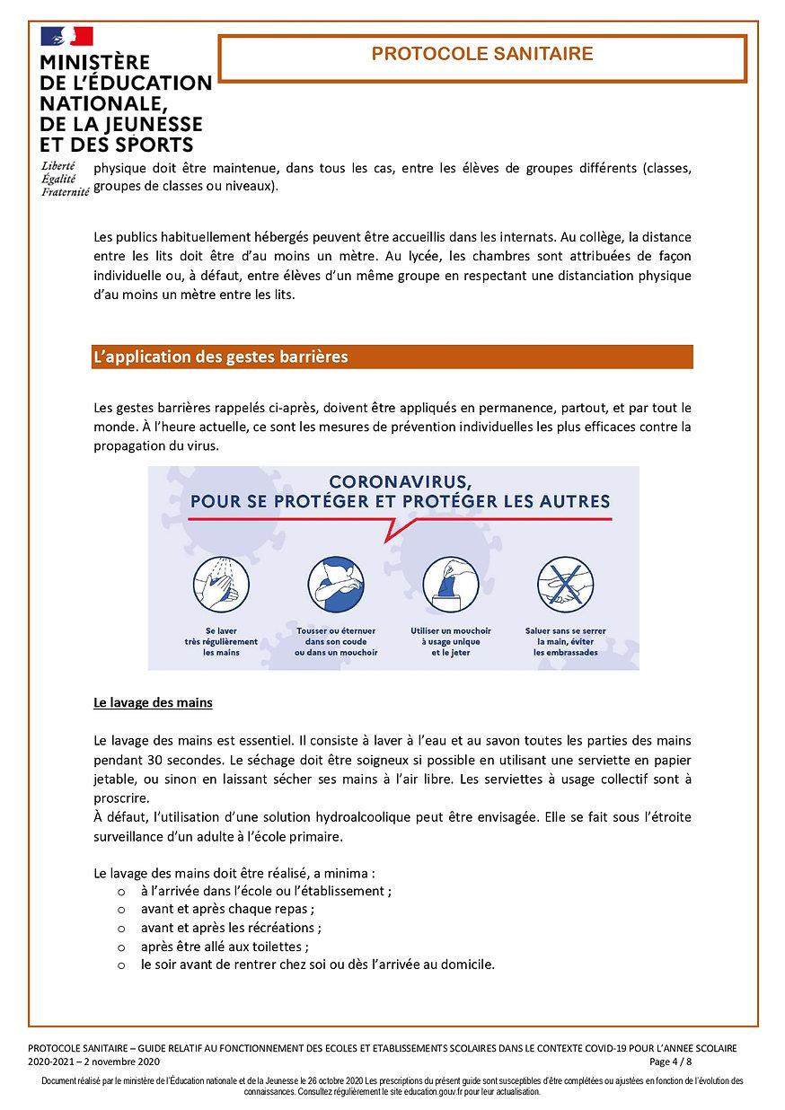 Protocole sanitaire écoles et établissem