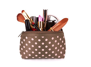 Make up bag with cosmetics and brushes i