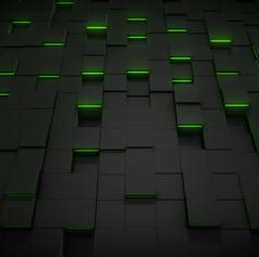 Green Light Cube Pattern Wallpaper