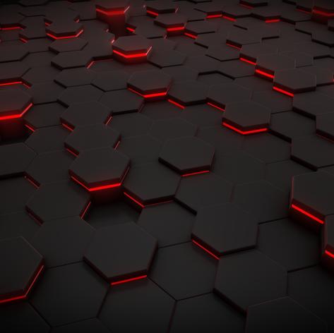Red Light Hexagon Pattern Wallpaper