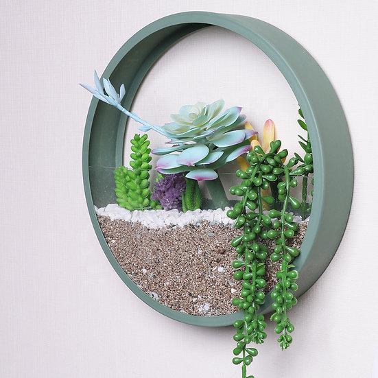 עציץ עגול דקורטיבי לקיר - ירוק/טורקיז או צהוב