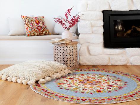 שטיחי צמר עגולים בעבודת יד