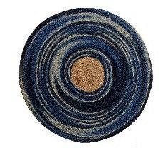 שטיח עגול יוטה כחול