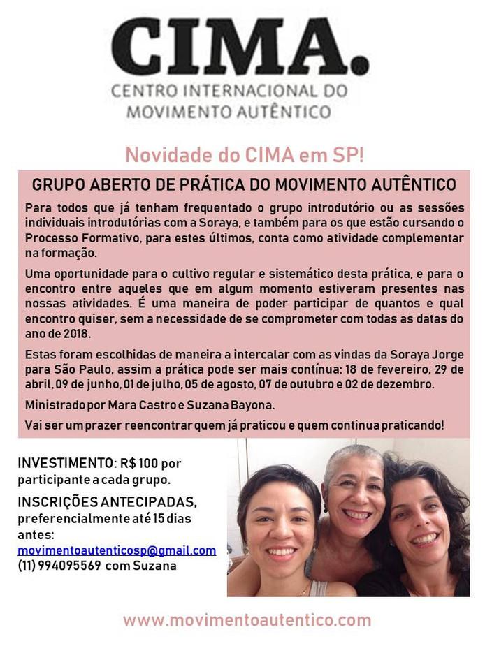 Programação Movimento Autêntico em São Paulo setembro e outubro