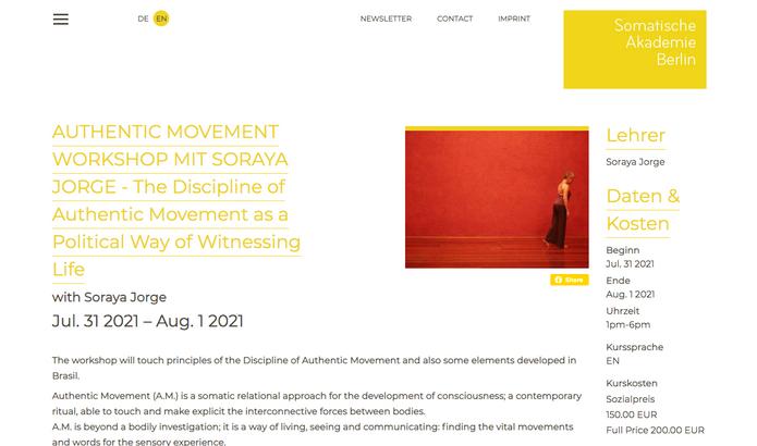 Soraya Jorge faz workshop na Somatisch Akademie Berlin