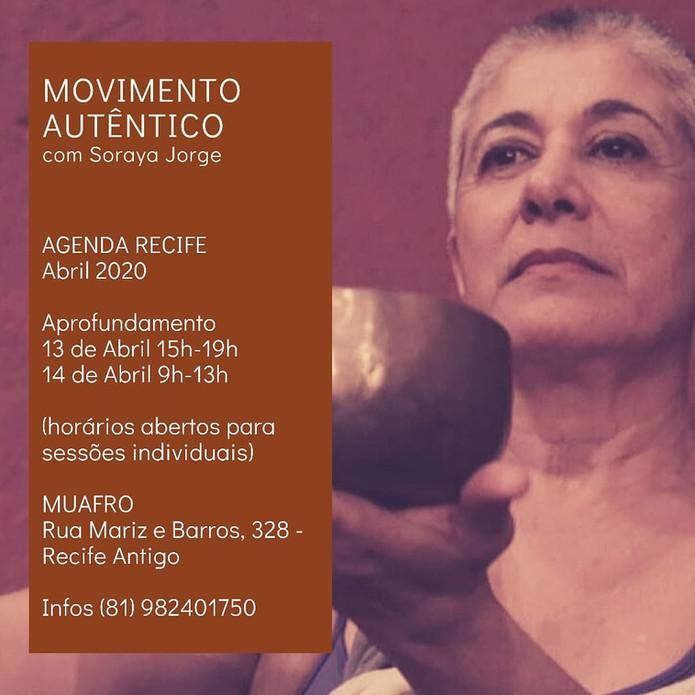 AGENDA Recife 2020 Movimento Autêntico com Soraya Jorge