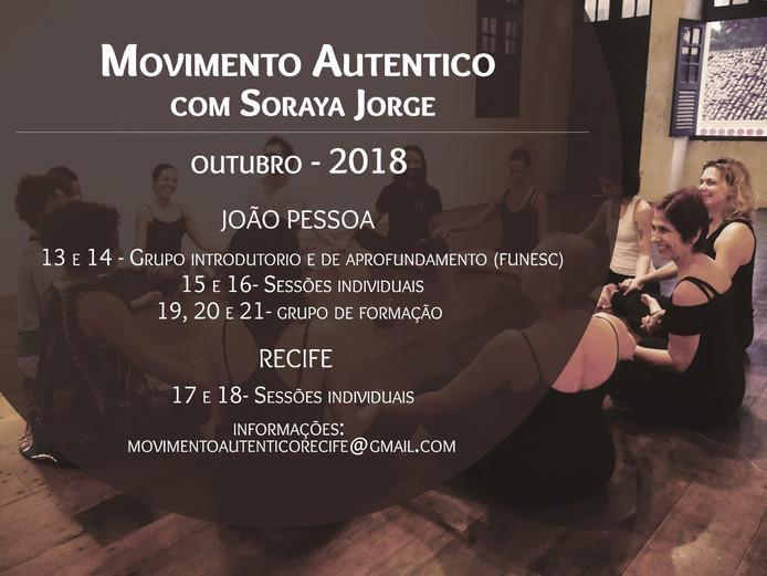 Movimento Autêntico em João Pessoa e Recife no mês de Outubro!