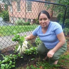 Maria in the garden.
