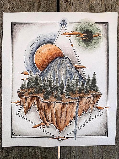'Floating Hood' Painting Print