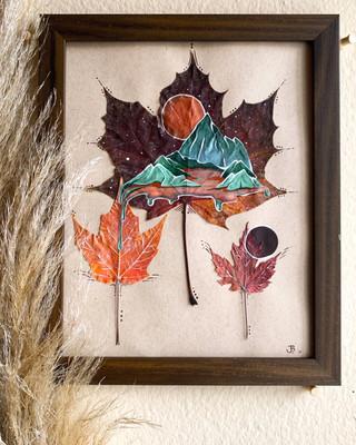 Acrylic on Natural Pressed Leaf, Framed.