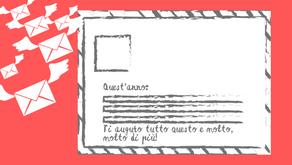 Una postcard, 4 fiori e magici auguri!