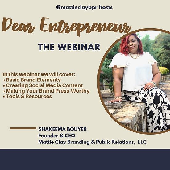 Dear Entrepreneur Webinar
