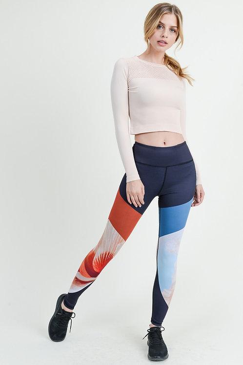Red & Blue Floral Leggings
