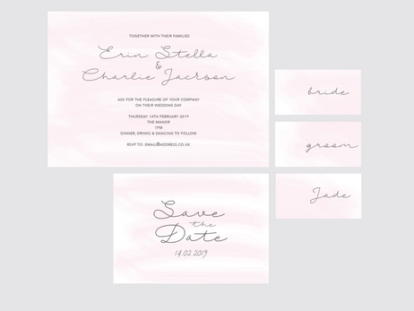 washy colour blush wedding invitation