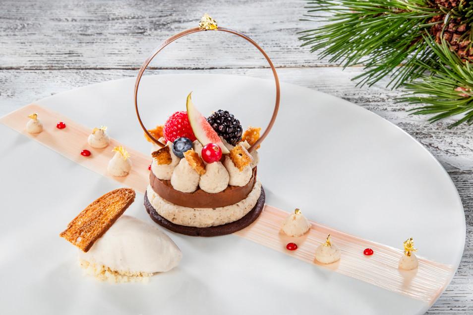 Crème légère chocolat blanc-vanille, coeur chocolat