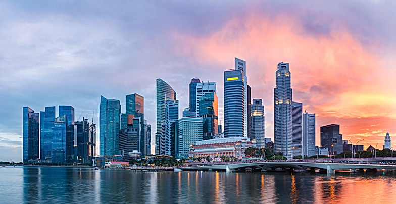 panoramic view of Singapore skyscrapers