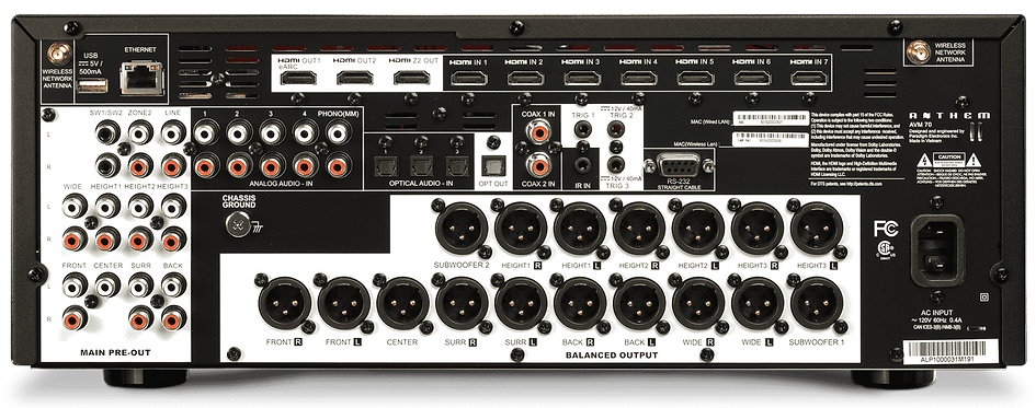 rear panel of the Anthem AVM-70 AV processor,