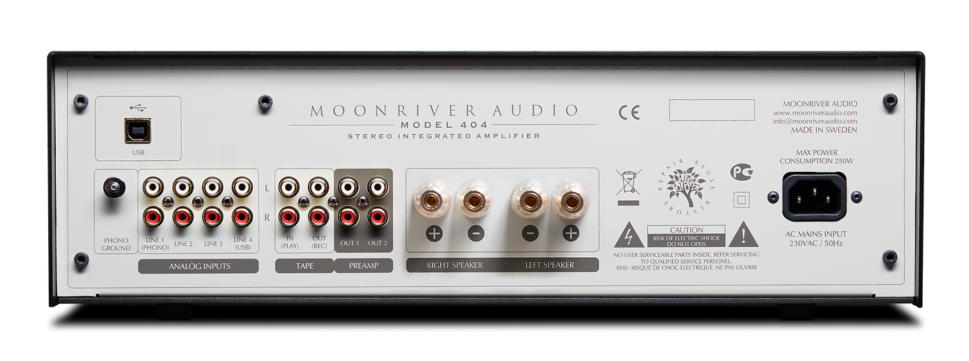 back panel of the Moonriver 404 amplifier,