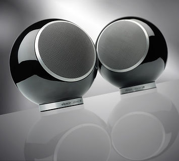 Elipson Planet L loudspeakers, spherical speakers, round speakers, bookshelf speakers, hi-fi loudspeakers, the little audio company,