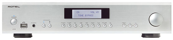 Rotel A14 amplifier shown in silver,