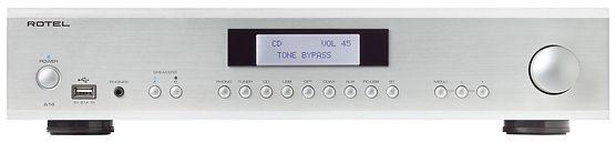 Rotel A14 Mk2 amplifier shown in silver,