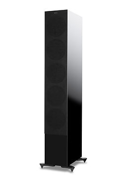 KEF R11 loudspeakers shown in high gloss black with grille, the little audio company,