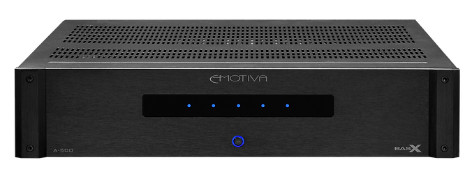 click here for more on the Emotiva BasX A500 home theatre power amplifier,