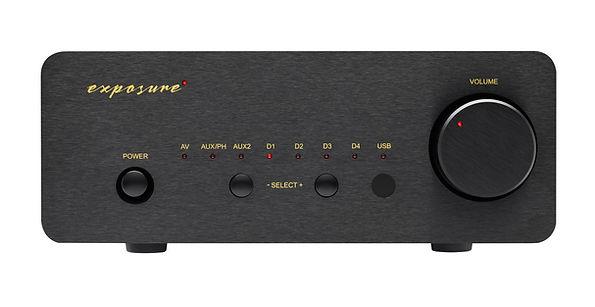 Exposure XM5 amplifier shown in black,