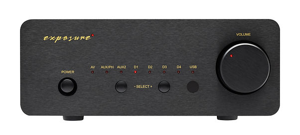 Exposure XM5 amplifier shown in black,