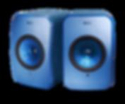 KEF LSX wireless shown in blue,