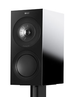 KEF R3 loudspeakers shown in high gloss black,